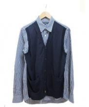 COMME des GARCONS(コムデギャルソン)の古着「ニットレイヤードギンガムチェックシャツ」|ブルー