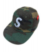 SUPREME(シュプリーム)の古着「ウールSロゴ6パネルカモキャップ」|オリーブ