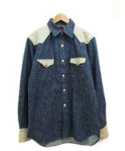 RED MOON(レッドムーン)の古着「レサー切替デニムウエスタンシャツ」|インディゴ