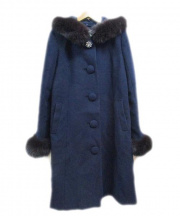 LAISSE PASSE(レッセ・パッセ)の古着「アンゴラ混フォックスファーフード付ウールコート」 ネイビー