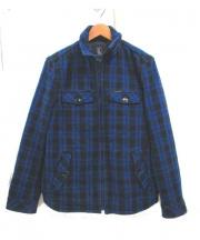 Hysteric Glamour(ヒステリックグラマー)の古着「スタンドカラーウールジャケット」 ブルー×ブラック