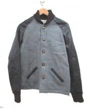 CENTRALIA(セントラリア)の古着「スタジャン」 グレー×ブラック