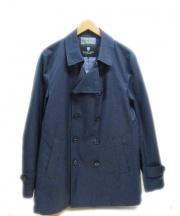 BLACK LABEL CRESTBRIDGE(ブラックレーベルクレストブリッジ)の古着「ショート丈トレンチコート」|ネイビー