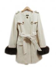 Swingle(スウィングル)の古着「ファースリーブノーカラーコート」|ホワイト