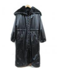 DONNA KARAN COLLECTION(ダナ キャラン コレクション)の古着「ラビットファーライナーロングコート」|ブラック