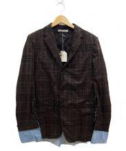 A.N.G.E.L.O.(アンジェロ)の古着「リメイクデニム切替チェックジャケット」