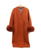 Diagram(ダイアグラム)の古着「ファー付コート」|オレンジ
