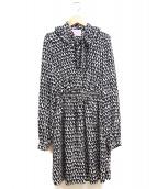 Kate Spade(ケイトスペード)の古着「ポップ スカラップ クレープ ドレス」|ブラック×ホワイト