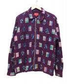 Supreme(シュプリーム)の古着「パッチワークジップアップシャツ」|パープル