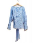 GRACE CONTINENTAL(グレースコンチネンタル)の古着「カシュクールストライプブラウス」|ブルー