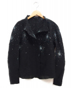 me ISSEY MIYAKE(ミー イッセイ ミヤケ)の古着「デザインメッシュカーディガン」|ブラック