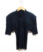 PLEATS PLEASE ISSEY MIYAKE(プリーツプリーズ イッセイミヤケ)の古着「フリンジプリーツシャツ」|ブラック