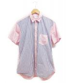 COMME des GARCONS SHIRT(コム デ ギャルソン・シャツ)の古着「切替ストライプシャツ」|ブルー×ピンク