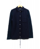sacai(サカイ)の古着「ドローコードニットシャツ」|ネイビー