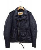 SCHOTT BROS.(ショットブロス)の古着「Wライダースジャケット」|ネイビー