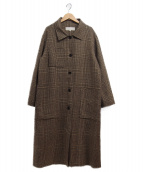 TODAYFUL(トゥデイフル)の古着「チェックステンカラーコート」 ブラウン