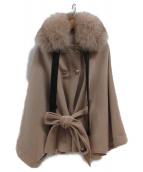 EmiriaWiz(エミリアウィズ)の古着「フォックスファー装飾メルトンポンチョ」|ベージュ