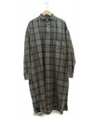 TICCA(ティッカ)の古着「スクエアビックロングシャツ」|カーキ×グレー
