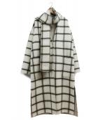 VICKY(ビッキー)の古着「マフラーセットチェックコート」|ホワイト