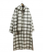 VICKY(ビッキー)の古着「マフラーセットチェックコート」 ホワイト