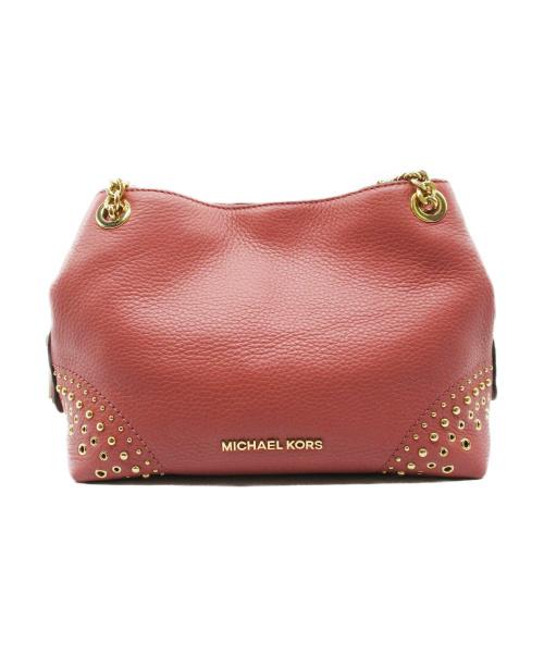 MICHAEL KORS(マイケルコース)MICHAEL KORS (マイケルコース) スタッズチェーンショルダーバッグ ピンクの古着・服飾アイテム