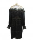 TADASHI SHOJI(タダシ ショージ)の古着「長袖レースオフショルダードレス」|ブラック