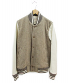 REMI RELIEF(レミレリーフ)の古着「レザースリーブスタジャン」|ブラウン