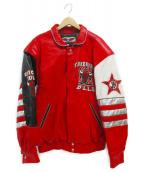JH DESIGN(ジェイエイチ デザイン)の古着「90s CHICAGO BULLS 3PEAT JACKET」 レッド
