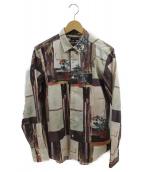 Paul Smith COLLECTION(ポールスミスコレクション)の古着「ブロックフローラルプリントシャツ」|ベージュ