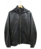 BURBERRY BLACK LABEL(バーバリーブラックレーベル)の古着「レザーフードジャケット」|ブラック