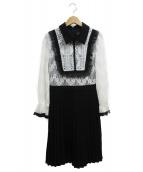 EmiriaWiz(エミリアウィズ)の古着「フリルデティールプリーツスカートワンピース」|ホワイト×ブラック