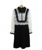 EmiriaWiz(エミリアウィズ)の古着「フリルデティールプリーツスカートワンピース」 ホワイト×ブラック