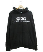 GOOD DESIGN SHOP COMME des GARCONS(グッドデザインショップ コムデギャルソン)の古着「CDGロゴプリントプルオーバーパーカー」|ブラック
