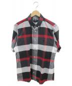 BLACK LABEL CRESTBRIDGE(ブラックレーベルクレストブリッジ)の古着「半袖チェックシャツ」|ブラック