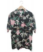 reyn spooner(レインスプーナー)の古着「アロハシャツ」|ブラック×ピンク