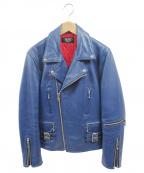 HORN WORKS(ホーンワークス)の古着「レザーライダースジャケット」|ブルー