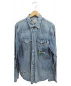 POLO RALPH LAUREN(ポロラルフローレン)の古着「パッチワークデニムシャツ」|インディゴ