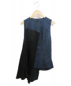 MM6 Maison Margiela(エムエムシックス メゾンマルジェラ)の古着「アシンメトリーノースリーブブラウス」|ブルー