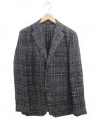 CARUSO(カルーゾ)の古着「チェックテーラードジャケット」|ブラウン