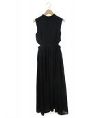 EmiriaWiz(エミリアウィズ)の古着「スタンドカラーバックデザインシフォンワンピース」|ブラック