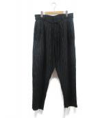 BED J.W. FORD(ベッドフォード)の古着「Two Tucks Stripe Pants」|ブラック