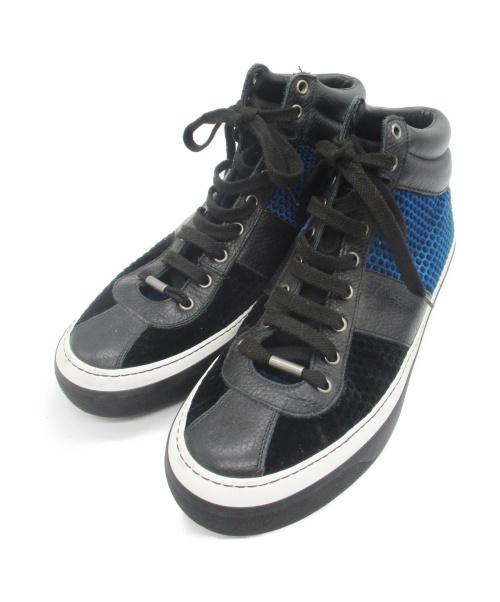 JIMMY CHOO(ジミーチュウ)JIMMY CHOO (ジミーチュウ) ハイカットスニーカー ブラック×ブルー サイズ:44の古着・服飾アイテム