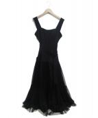 FRAY ID(フレイアイディー)の古着「チュールスカートタイトドレス」|ブラック