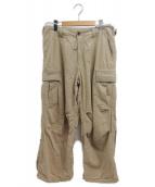 KUON(クオン)の古着「裂き織アーミーパンツ」|ベージュ
