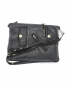 beautiful people(ビューティフルピープル)の古着「shrink leather W clutch bag」 ブラック