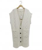 BLACK by moussy(ブラックバイマウジー)の古着「cable stitch long knit vest」 ベージュ