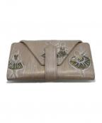 HIROKO HAYASHI(ヒロコ ハヤシ)の古着「スカラ二つ折り財布」 ベージュ
