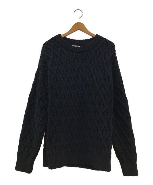AURALEE(オーラリー)AURALEE (オーラリー) HARD TWIST MERINO ARAN KNIT P/ ブラック サイズ:4の古着・服飾アイテム