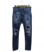Denham()の古着「リペア加工デニムパンツ」|ブルー
