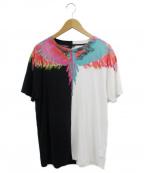 MARCELO BURLON(マルセロバーロン)の古着「フェザープリントTシャツ」|ホワイト×ブラック